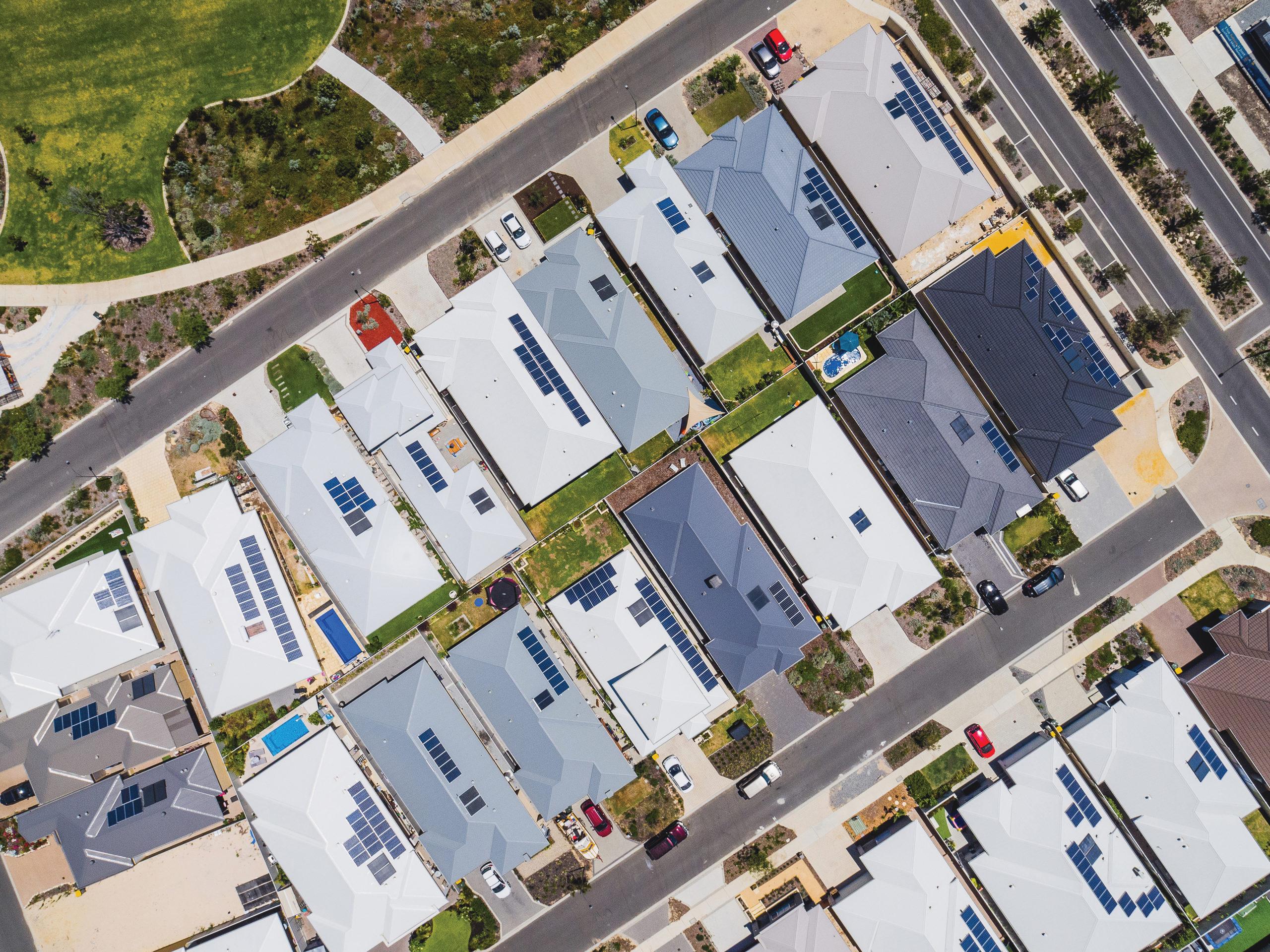 Birds eye view of a suburban location
