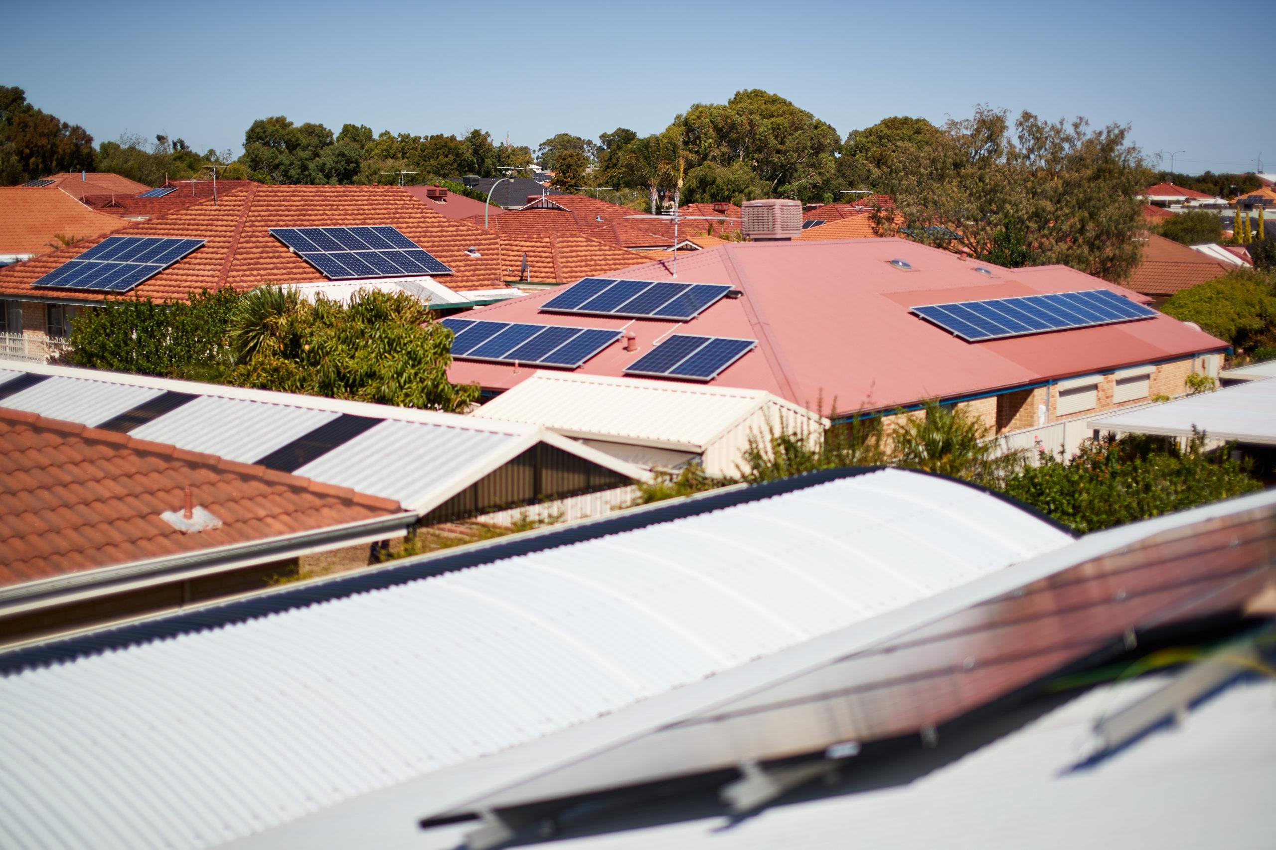 Solar panels on residential houses
