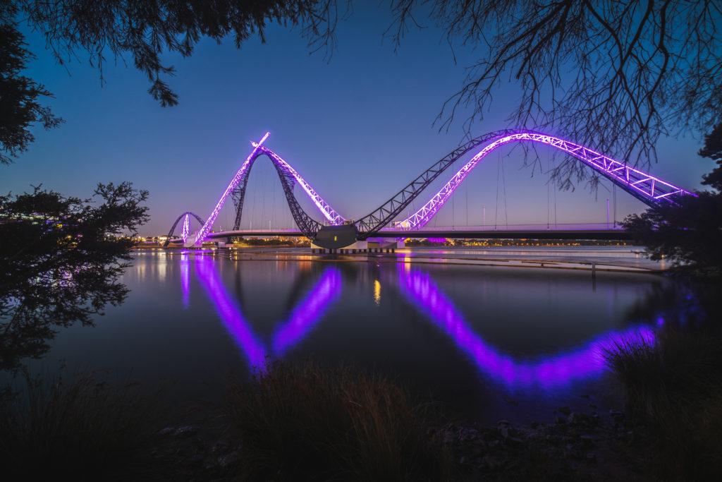Matagarup Bridge in the evening with purple lights, Perth WA